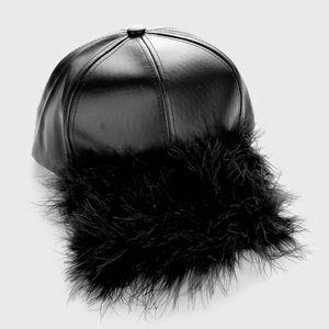 Accessories - Faux Leather Fur Detail Baseball Cap